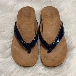 Vionic Jen Navy Patent Leather Thong Sandal Sz 8.5